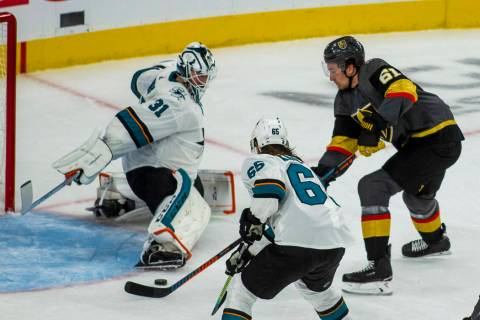 Golden Knights right wing Mark Stone (61) scores his third goal of the night on San Jose Sharks ...