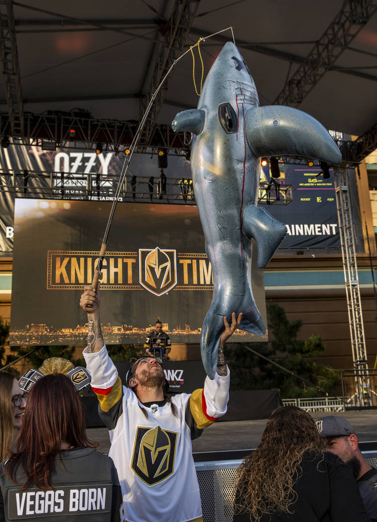 Tpm Wright fishes for shark before the start of Game 3 of an NHL Western Conference quarterfina ...