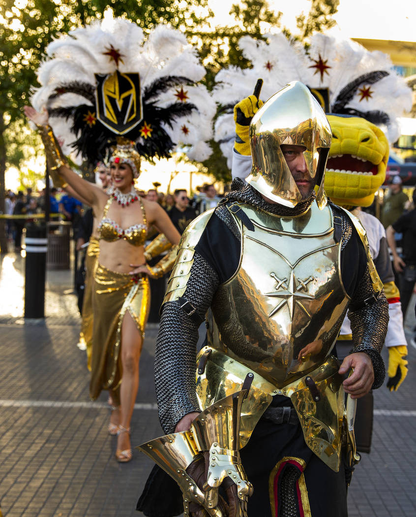 The Golden Knight leads the parade into the plaza before the start of Game 3 of an NHL Western ...