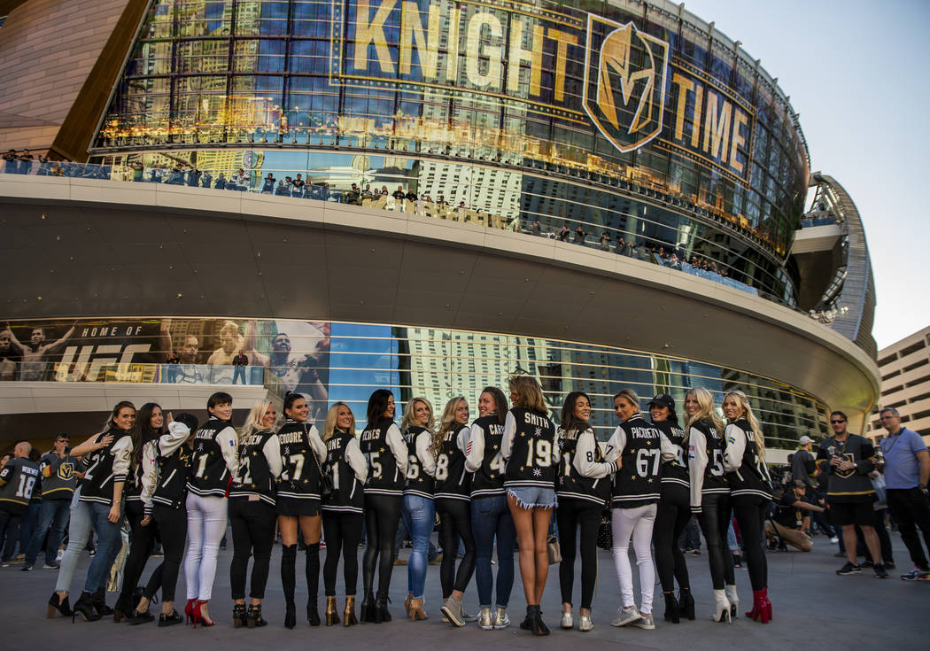 The women of the Golden Knights stand together before the start of Game 3 of an NHL Western Con ...