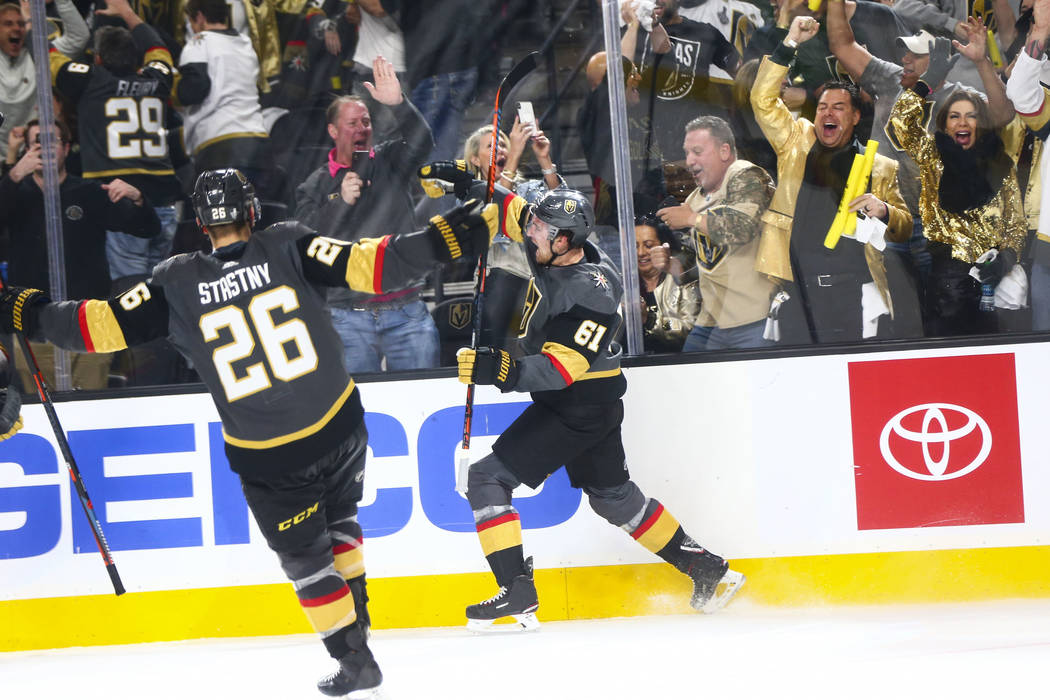 Golden Knights right wing Mark Stone (61) celebrates his hat trick against the San Jose Sharks ...