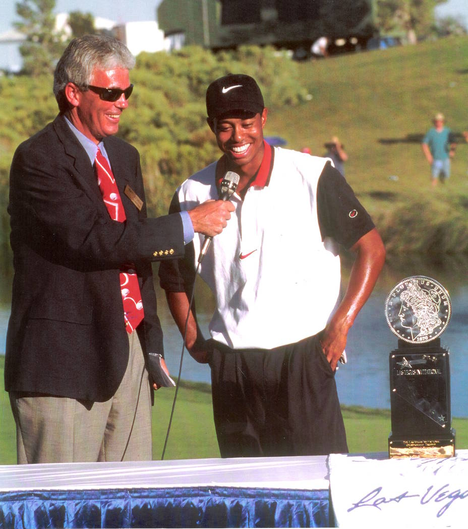 Las Vegas author and avid golfer Jack Sheehan interviews Tiger Woods after Woods' first pro cha ...