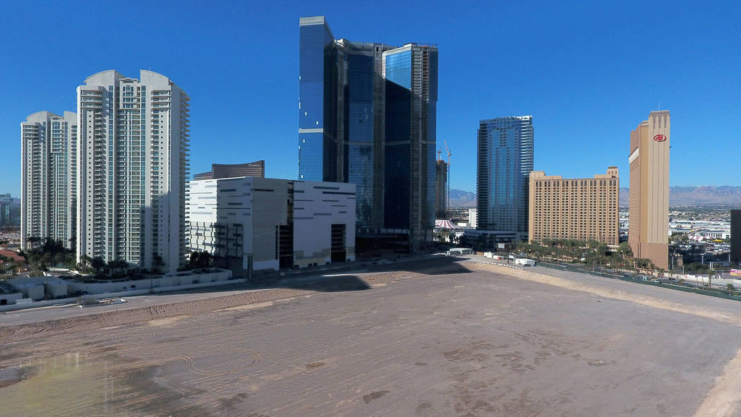 The Drew Las Vegas, center, formerly the Fontainebleau, stands on the edge of property slated t ...