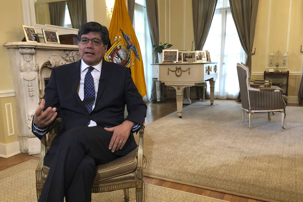 Ecuadorean Foreign Minister Jose Valencia speaks during an interview with The Associated Press ...