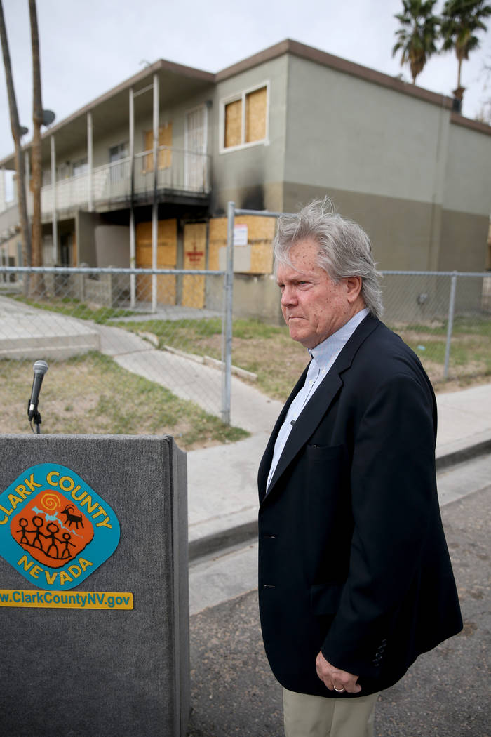Clark County Commissioner Tick Segerblom before a news conference Monday, April 15, 2019, on Ca ...