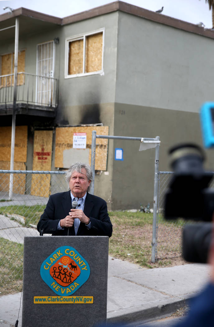 Clark County Commissioner Tick Segerblom holds a news conference Monday, April 15, 2019, on Cal ...
