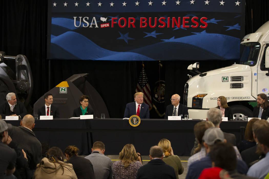 President Donald Trump speaks at Nuss Truck and Equipment Monday, April 15, 2019, in Burnsville ...