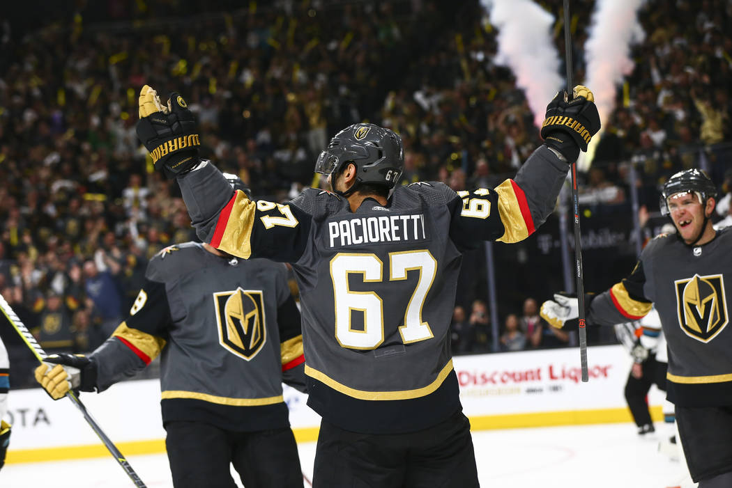 Golden Knights left wing Max Pacioretty (67) celebrates his goal against the San Jose Sharks du ...