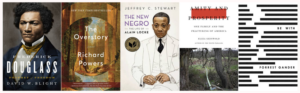 """This combination photo of book cover shows, from left, """"Frederick Douglass: Prophet of Fre ..."""