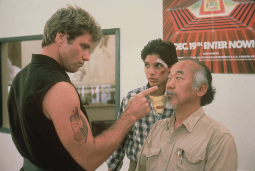 """Martin Kove, Ralph Macchio and Pat Morita star in """"The Karate Kid."""" (Sony Pictures Entertainment)"""