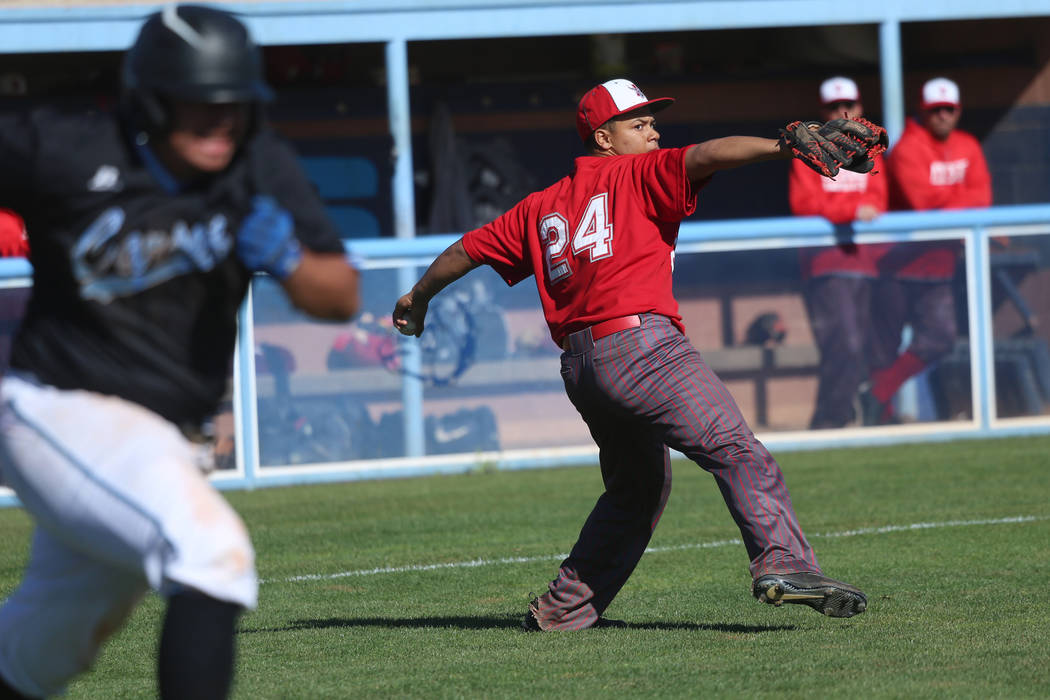 Arbor View's Jalen Haener (24) throws to first base for an out against Carson in the baseball g ...