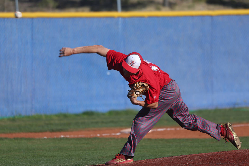 Arbor View's Steven Giatti (15) pitches against Carson in the baseball game at Centennial High ...
