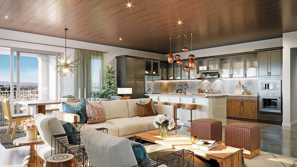 Home shoppers can view floor plans at Mira Villa, a Summerlin condo community, by Toll Brothers ...
