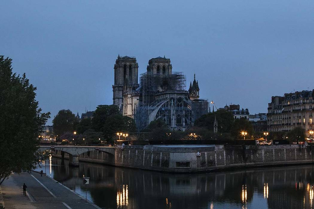 The Notre Dame cathedral is seen after the fire in Paris, Tuesday, April 16, 2019. A catastroph ...