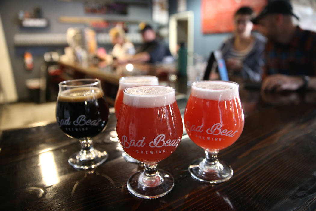 Beers are served at Bad Beat Brewing in Henderson, Saturday, April 13, 2019. (/Las Vegas Review ...