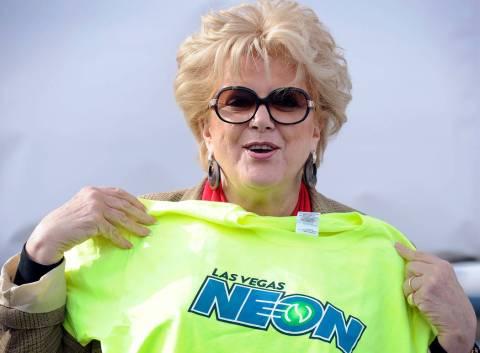 Las Vegas Mayor Carolyn Goodman displays a t-shirt during a news conference announcing Las Vega ...