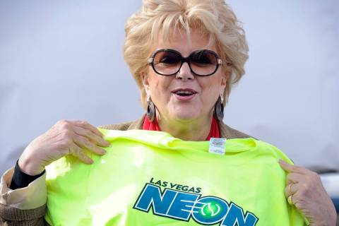 Las Vegas Mayor Carolyn Goodman displays a t-shirt during a news conference announcing Las Vega ...
