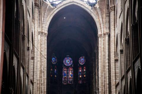 The glass windows are pictured inside the damaged Notre Dame cathedral in Paris, Tuesday, April ...