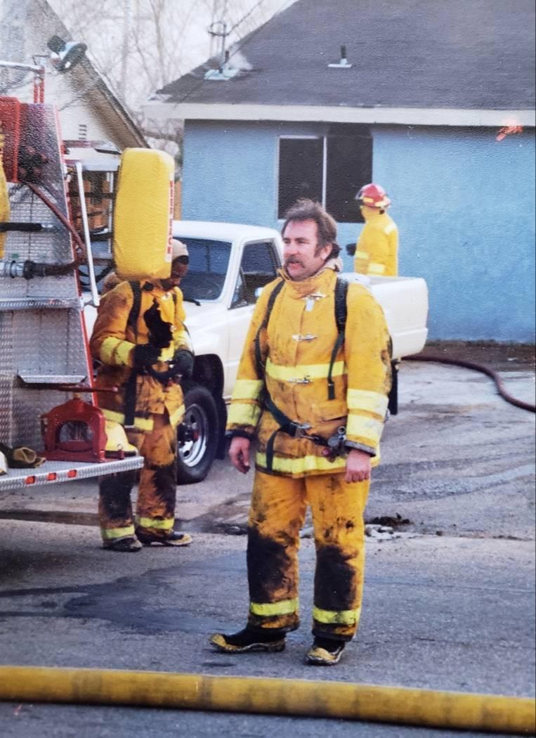 Donald Mercer in a firefight uniform. Mercer, a retired firefighter from Southern California, d ...
