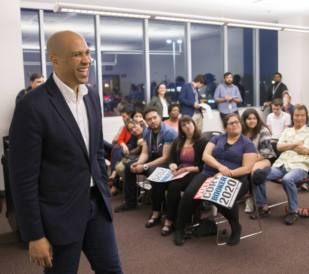 Democratic presidential candidate Sen. Cory Booker, D-N.J., speaks to the Young Democrats of UN ...