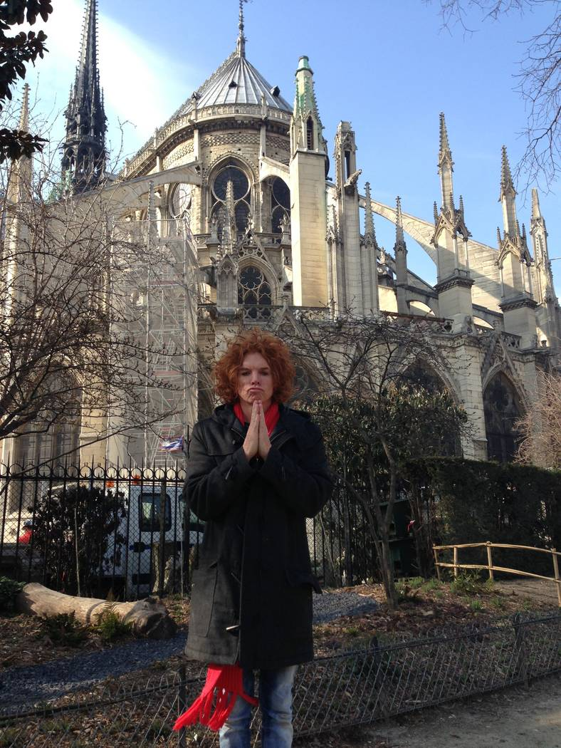 Carrot Top (Scott Thompson) is show outside Notre Dame Cathedral in Paris on March 24, 2013 (Ri ...