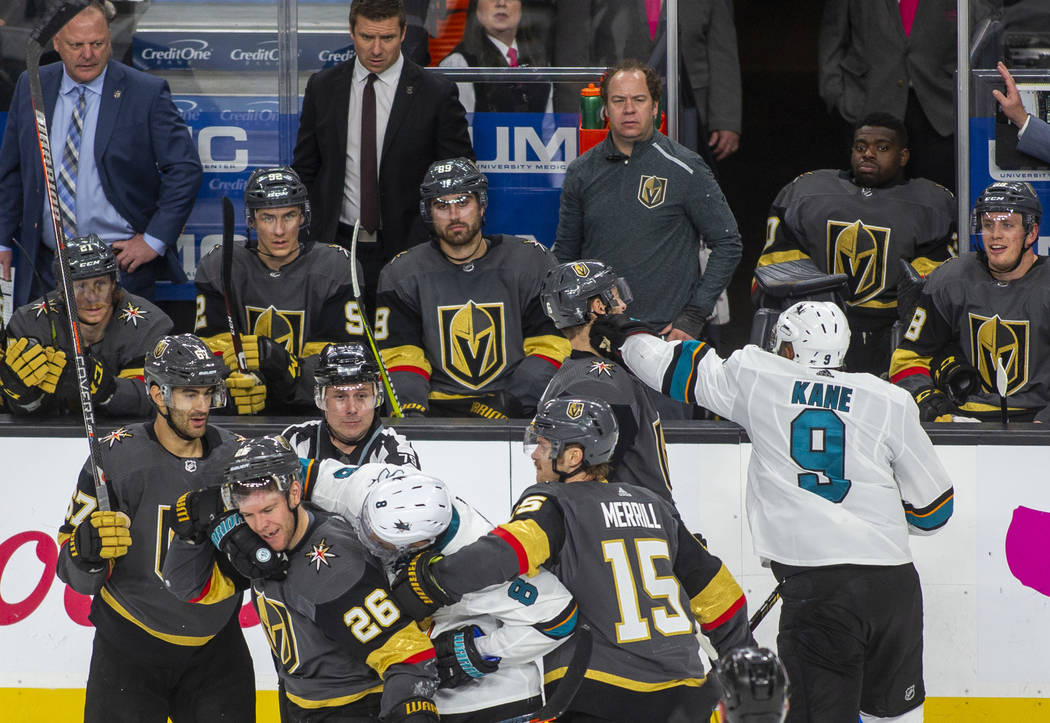 during the third period of Game 4 of an NHL Western Conference quarterfinal series at T-Mobile ...