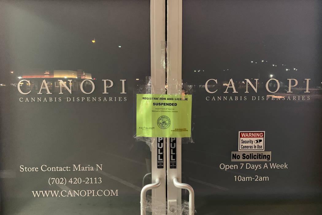 The Nevada Department of Taxation shut CWNevada's North Las Vegas and downtown dispensaries Fri ...