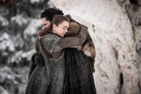This image released by HBO shows Maisie Williams, left, and Kit Harington in a scene from &quot ...
