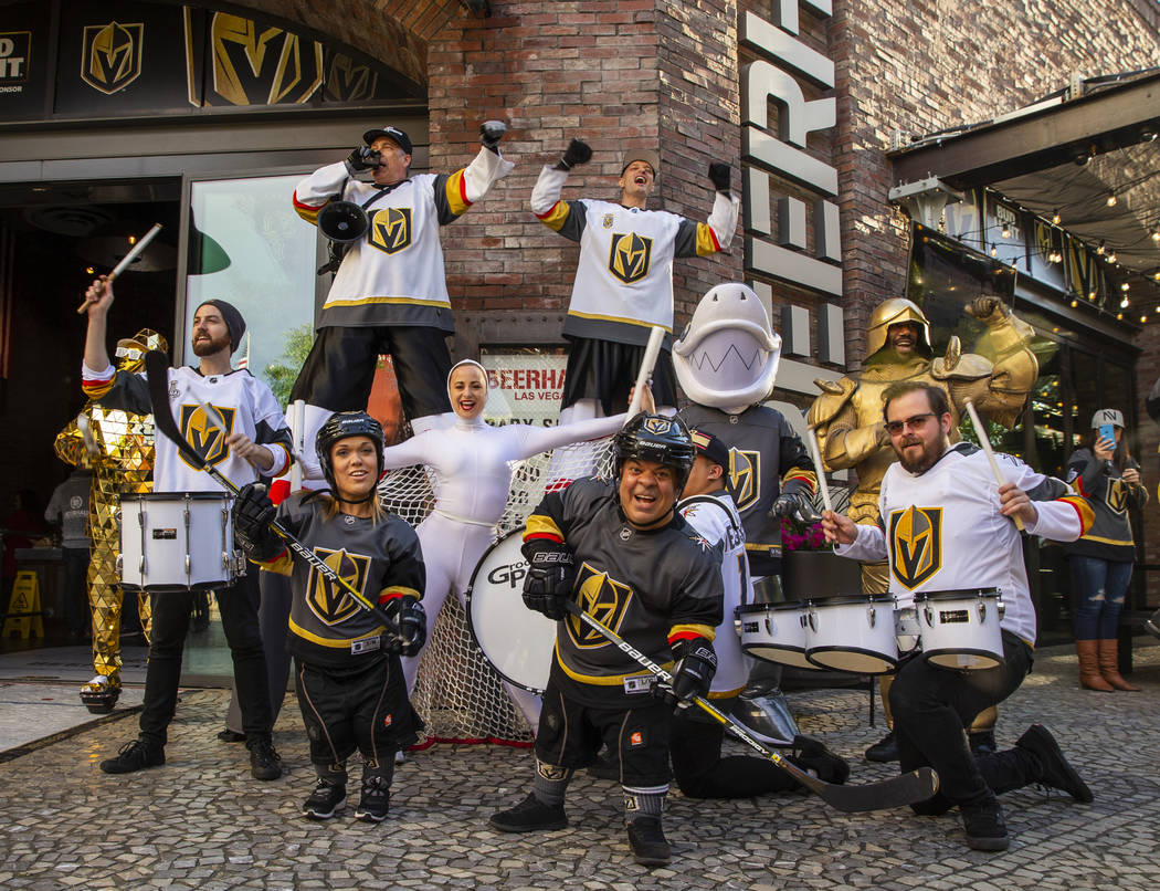 A wild collection of Vegas Golden Knights characters gather before the start of Game 4 of an NH ...