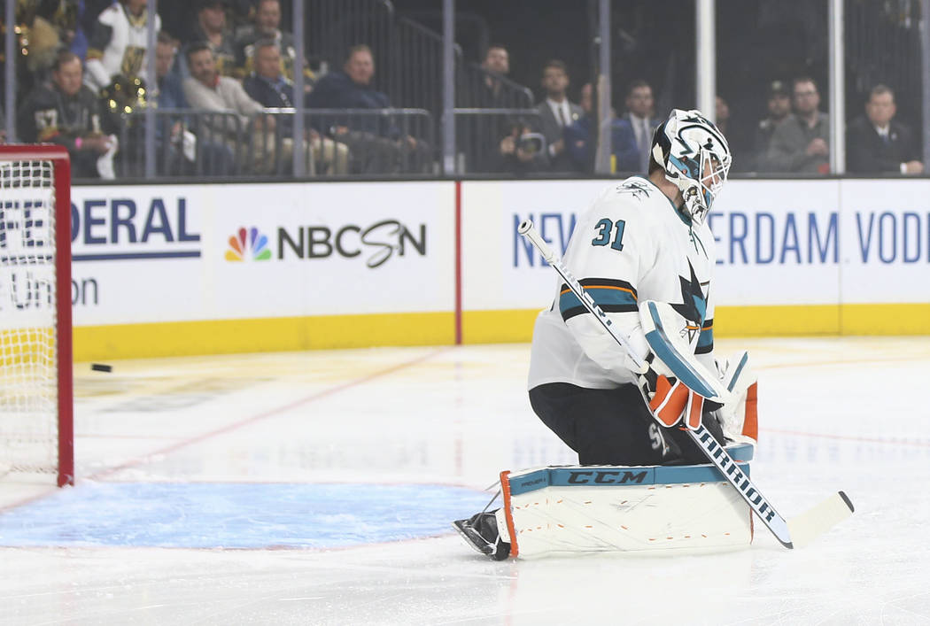 A shot from Golden Knights left wing Max Pacioretty, not pictured, flies by San Jose Sharks goa ...