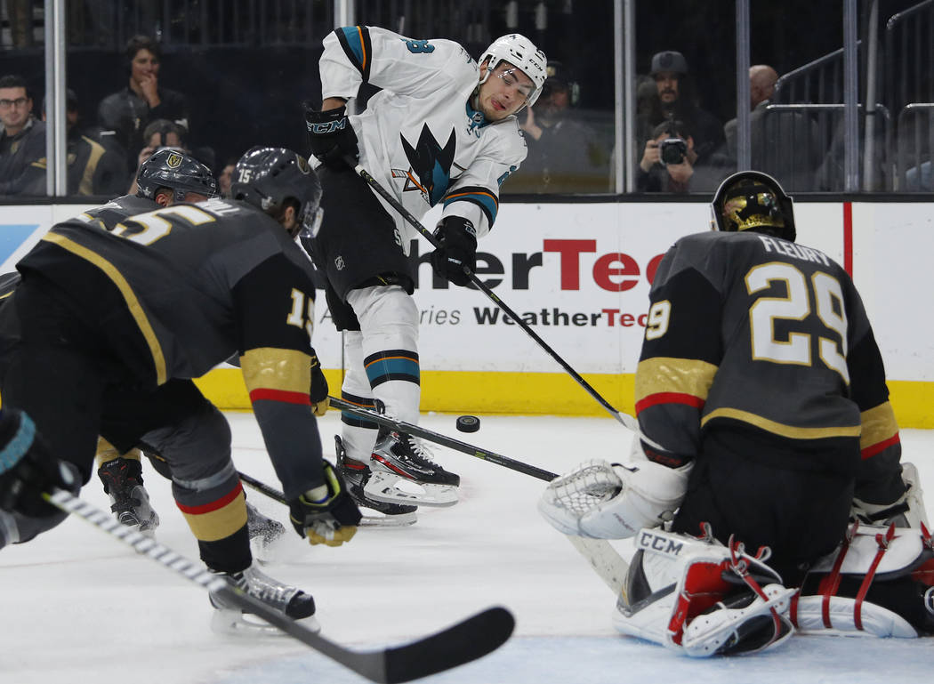 San Jose Sharks right wing Timo Meier (28) passes against the Vegas Golden Knights during the f ...