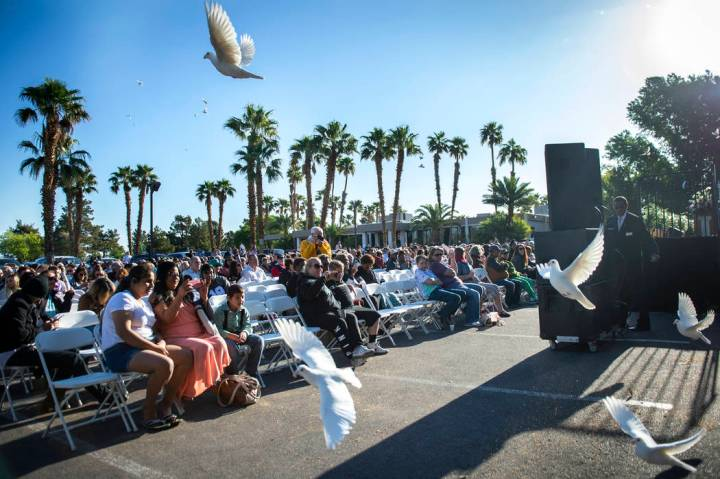 "Doves are released during the song ""You Raise Me Up"" during a sunrise Easter service ..."