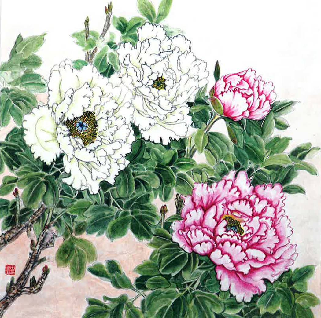 """Peony"" by James and Christine Kim, who are exhibiting traditional Korean brush and ink paintin ..."