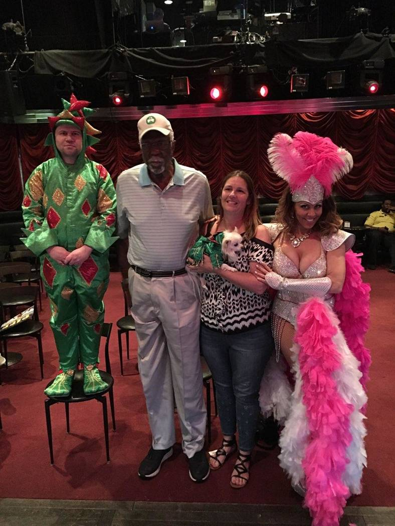 Piff the Magic Dragon (legal name John Van der Put), Bill Russell, an unidentified guest, and J ...