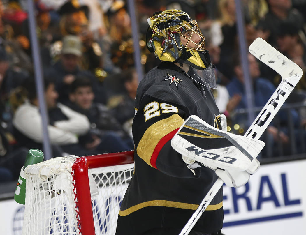 Golden Knights goaltender Marc-Andre Fleury (29) looks on during the second period of Game 4 of ...