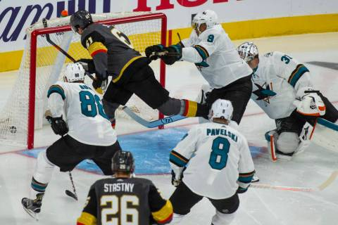 Golden Knights right wing Mark Stone (61) scores his second goal of the night past San Jose Sha ...