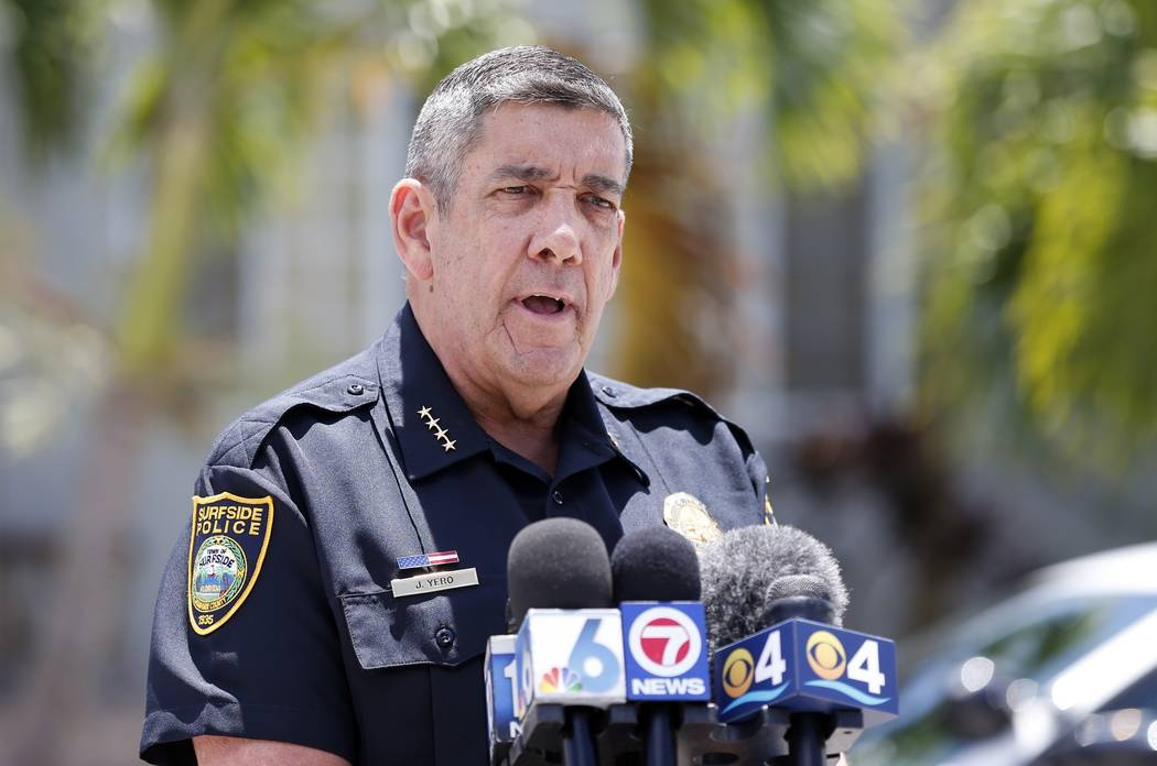 Surfside Chief of Police Julio Yero speaks to the media outside the home of Sol Pais, Wednesday ...