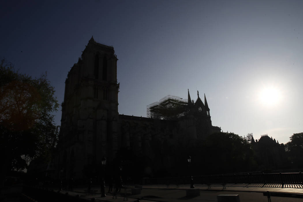 Notre Dame cathedral is pictured early Wednesday, April 17, 2019 in Paris. Nearly $1 billion ha ...