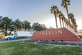 Traffic travels eastbound on the Summerlin Parkway on Thursday, Feb. 28, 2019, in Las Vegas. Th ...