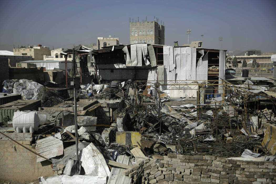 A view of the site of an airstrike April 10, 2019, by Saudi-led coalition in Sanaa, Yemen. Pres ...