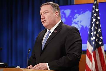 Secretary of State Mike Pompeo speaks during a news conference at the State Department in Washi ...