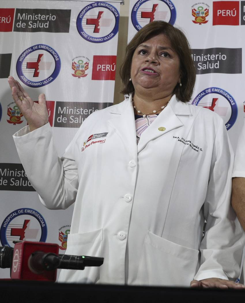 Health Minister Zulema Tomas speaks at a news conference at the Casimiro Ulloa hospital where f ...