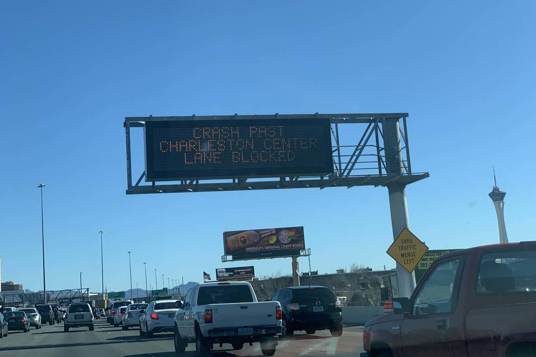 A semitrailer stopped in the middle of Interstate 15 near Charleston Boulevard has slowed traff ...