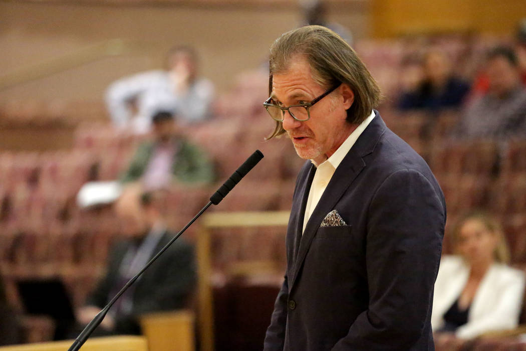 Project spokesman Ron Krater addresses the Clark County Commission during a hearing on a propos ...