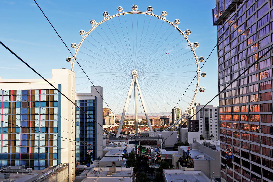 Guests on the new Fly Linq Zipline at the Linq Hotel in Las Vegas, Thursday, Nov. 1, 2018. Part ...