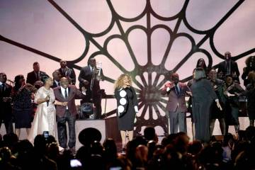 Singers Regina Belle, Erica Campbell and Kelly Price perform during the tribute to Aretha Frank ...