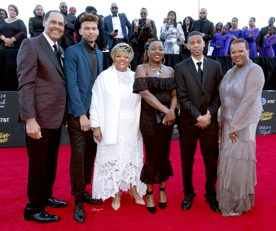 LCentral City Productions Chairman and CEO Don Jackson (L) and the family of Aretha Franklin at ...