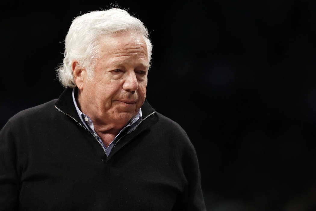 FILE - In this April 10, 2019, file photo, New England Patriots owner Robert Kraft leaves his s ...