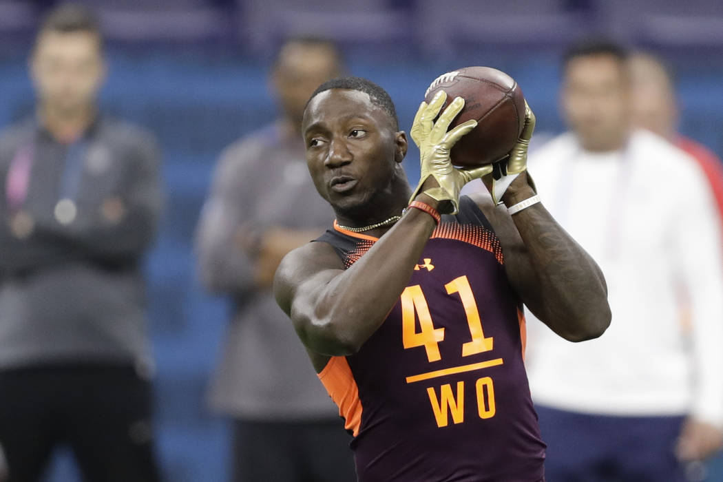 South Carolina wide receiver Deebo Samuel runs a drill during the NFL football scouting combine ...