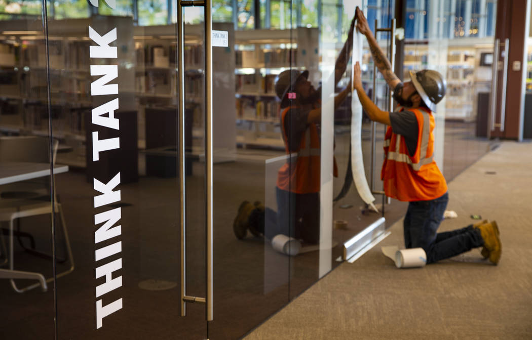 One of the many study areas is nearly complete at the new East Las Vegas Library, Las Vegas-Cla ...